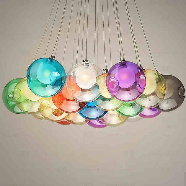 modern colorful glass bubbles pendant light chandelier ceiling lamp lighting