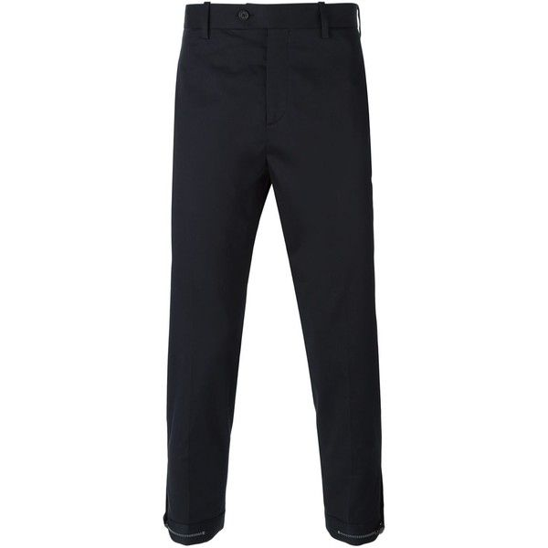 Neil Barrett Zipped Ankle Trousers (21,335 INR) ❤ liked on Polyvore featuring men's fashion, men's clothing, men's pants, men's casual pants, mens ankle length pants, men's 5 pocket pants, mens navy blue pants, mens zipper pants and old navy mens pants