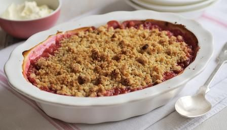 Rhubarb crumble. Guy Fawkes night recipes for cosy comfort food and snacks that are easy to prepare ahead, leaving you free to enjoy the fireworks.