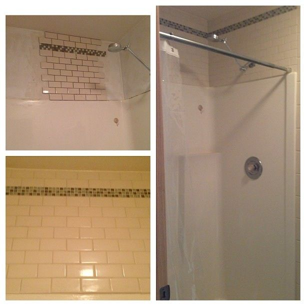 Tile Above Fiberglass Shower Master Bath Ideas Pinterest Fiberglass Shower Showers And Tile