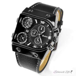 Männer Uhr GLOBE Leder Armband schwarz mit 3 Uhrwerken