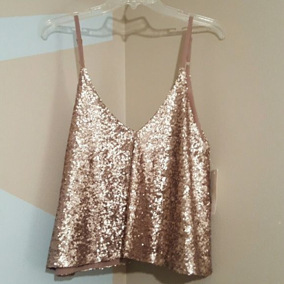 Tobi  Gold Sequin Crop Top NWT  Perfect for shorts or skirt Tobi Tops Crop Tops