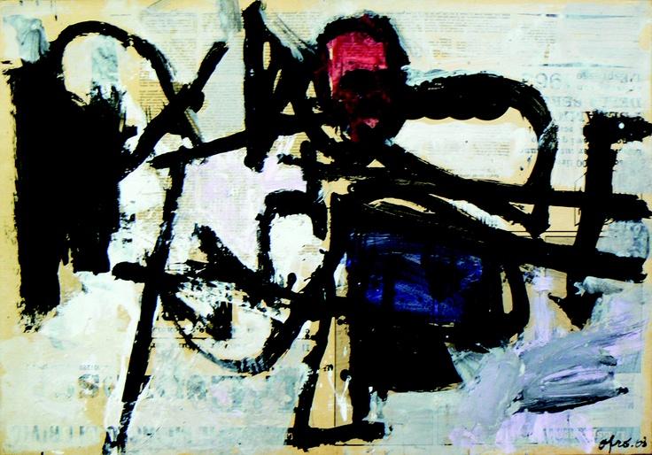 AFRO Libio Basaldella,1963,  tecnica mista su carta di giornale, cm.43X63