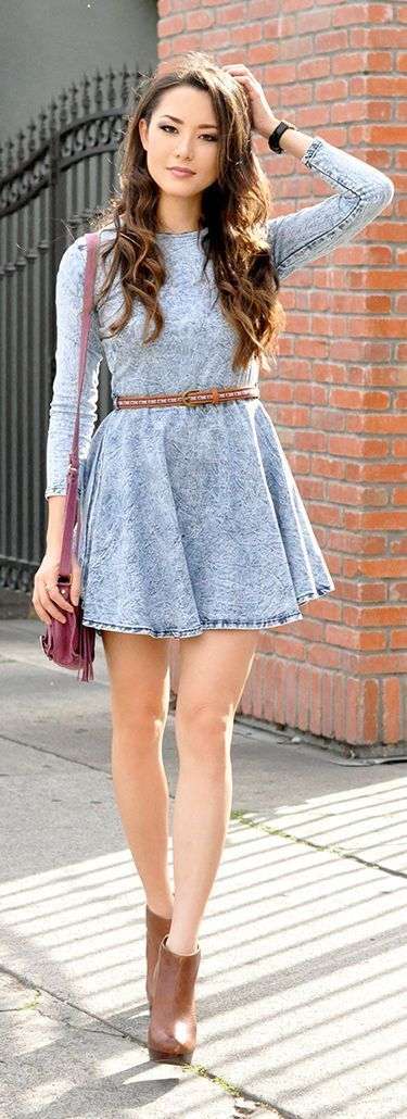 Little Washed Long Sleeve Denim Dress with Booties | Street Styles