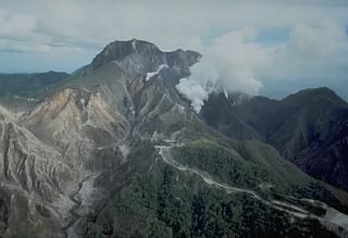 An aerial view of the north flank of Pinatubo shows the area devastated by explosions on April 2. This eruption, from a 1.5-km-long fissure cutting E-W across the north flank, was the first in a progressively intensifying series of eruptions that led to collapse of the summit and caldera formation on June 15. The road in the foreground provided access to a geothermal drill station.