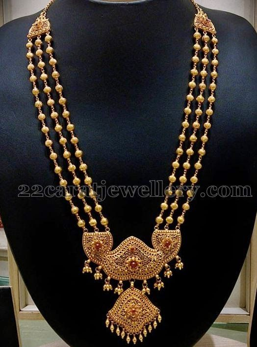 Jewellery Designs: Pathakam Haram with Filigree Locket