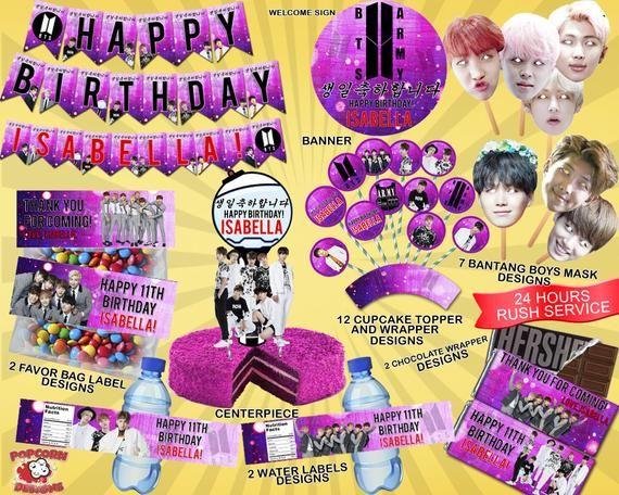 Bts Printable Set Digital Printable Birthday Party Decorations Decor Banner Invitations F Bts Birthdays Birthday Birthday Parties