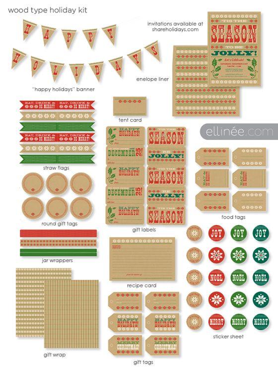Free printable // Wood Type Holiday Printable Kit