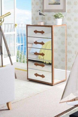 Mirrored Furniture Tallboy Chest 5 drawers Vintage Trunk - CAPE VERDE