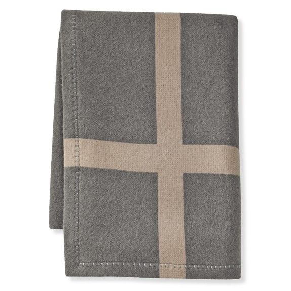 Cashmere and Wool Equestrian Throw, Grey | Williams-Sonoma