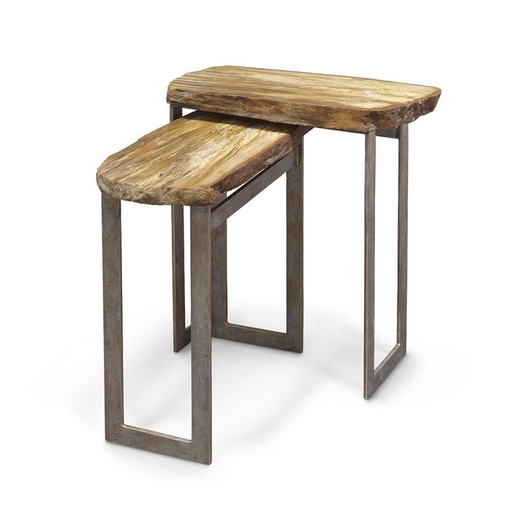 Waterfall Ends Kitchen Bench: PETRIFIED WOOD RECTANGULAR WATERFALL TABLES, SET OF 2