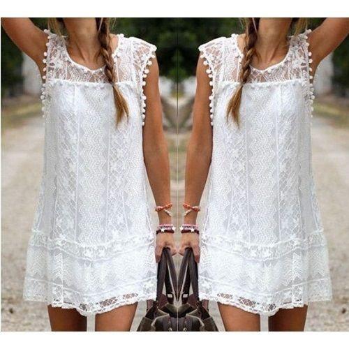 Women Summer Dress Sleeveless Beach Short Dress White Mini Dress #Unbranded #Beach
