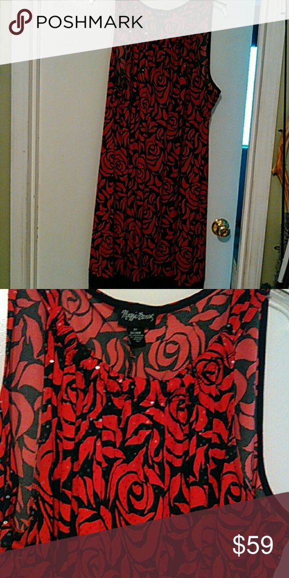 Black/ red sleeveless sequins rode pattern dress Red rose print sequin dress with solid black sequin band at bottom. Maggie Barnes Dresses Midi