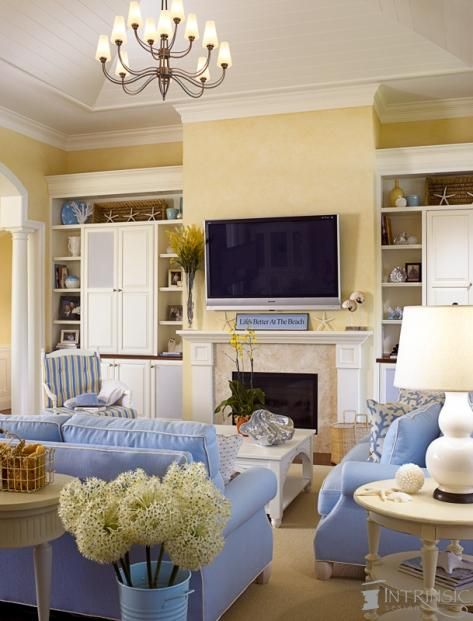 beach cottage living room. Same colors i have in my great room except i also have green mixed in w/ the blue and yellow & white.