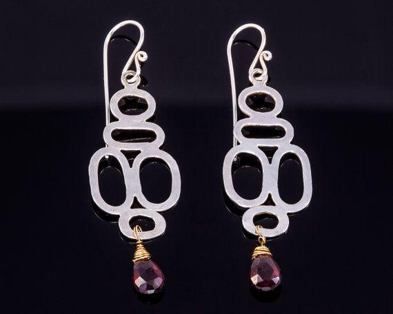 Modern silver earrings  Garnet earrings  by JackAssayagJewelry