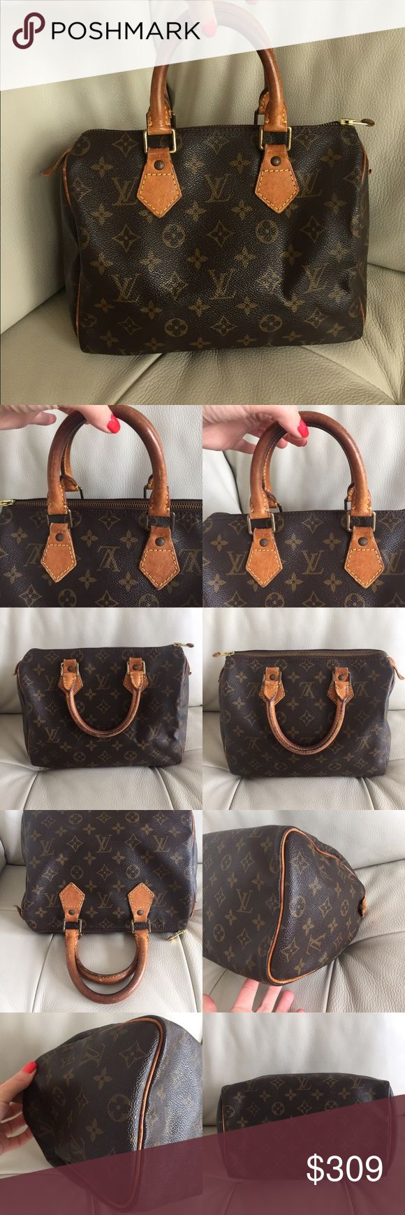 """💯Authentic Louis Vuitton Speedy 25 vintage bag Classic LV vintage. Leather handles and trims have scratches, fine cracks, turned into honey patina and show wear. Inside is clean. No bad odor. Monogram canvas is still intact, no rips or tears. Measuraments: W10 x H7.5 x D6""""(Approx) - made in France in April, 1994 - Date code: TH0944 - selling only the bag. No locks. Condition like pictures. 100% Authentic. Louis Vuitton Bags Satchels"""