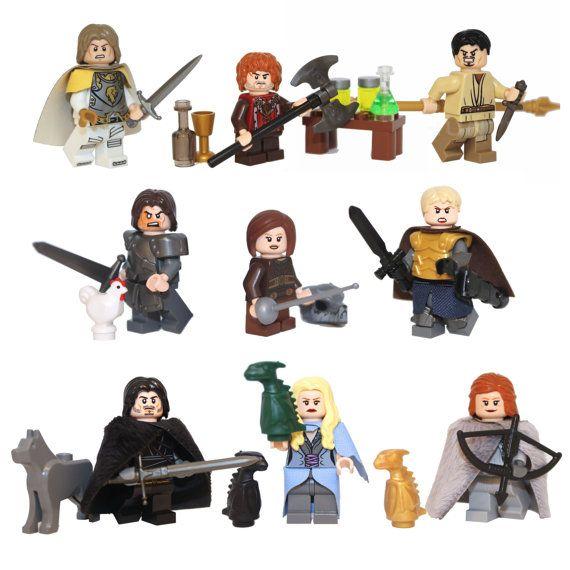 LEGO Custom Game of Thrones minifigures mega pack! Jon snow, Daenarys Targaryen, Tyrion Lannister, Jaime Lannister, Ygritte, Brienne of Tarth, the Hound, Oberyn Martell and Arya Stark.
