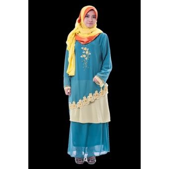 Rasa Sayang Blue Beige Two Tone Baju Kurung A fesyen baju kurung with delicate flora and beads embroidery in 2-tone contrast colors  Fabric: Chiffon Colors: Blue/Red, Gold/Brown, Violet/Light Blue Size: ... #bajukurung #bajukurungmoden