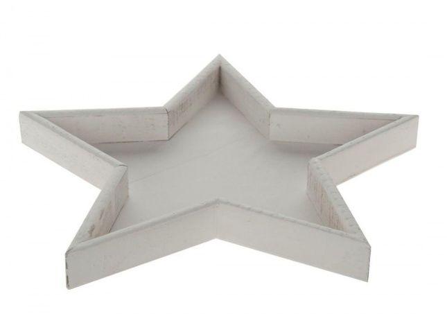 drewniana taca gwiazda Drewniana taca - gwiazda malowana na biało.