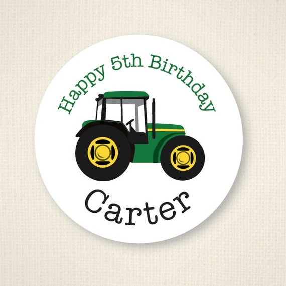 Tractor party  Custom stickers  Sheet of 12 or 24 by chickabug, $5.00
