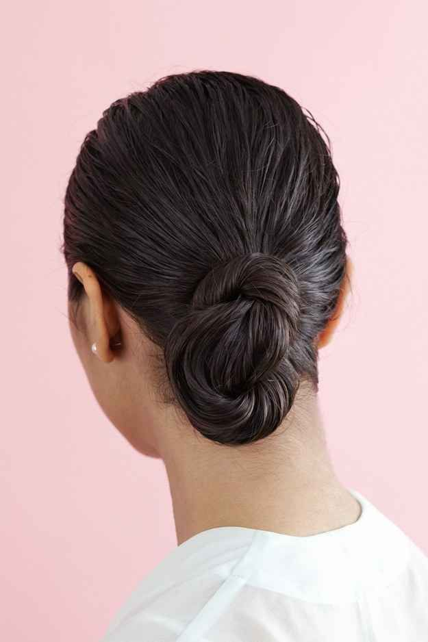 Style your wet hair into this pretty chignon.