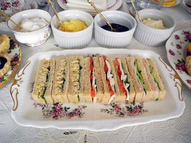 Finger sandwiches for afternoon tea.