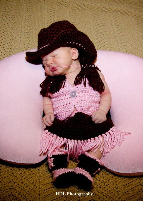 Brown Pink Crochet Cowgirl Set Hat Boots Vest Skirt - Baby, Star, Button