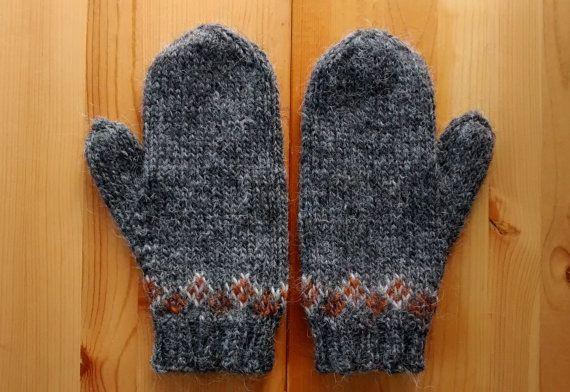 Knitting Patterns Lopi Wool : Icelandic Mittens Hand Knit Grey, Rust Lett Lopi / Icelandic Wool Grey, Sho...