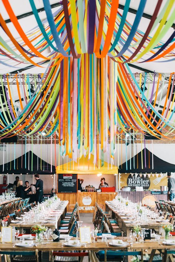 colorful ribbon wedding decor