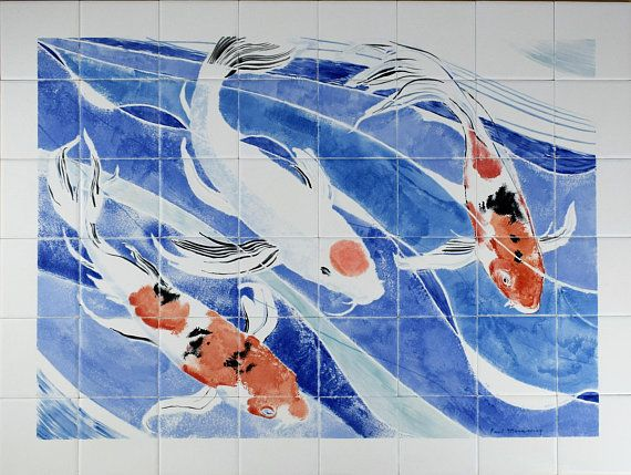 Koi Ceramic Wall Art Unique Kitchen Backsplashes Tile Murals Hand Painted In North Wales Uk Free Uk Painting Ceramic Tiles Tile Murals Backsplash Tile Mural