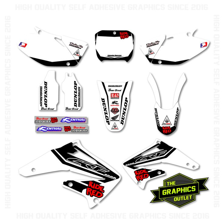 HONDA CRF450 2002-03 - RIDE RED FACTORY STYLE REPLICA - FULL MOTOCROSS GRAPHICS KIT (BLANK BACKGROUNDS) - WHITE & BLACK VERSION