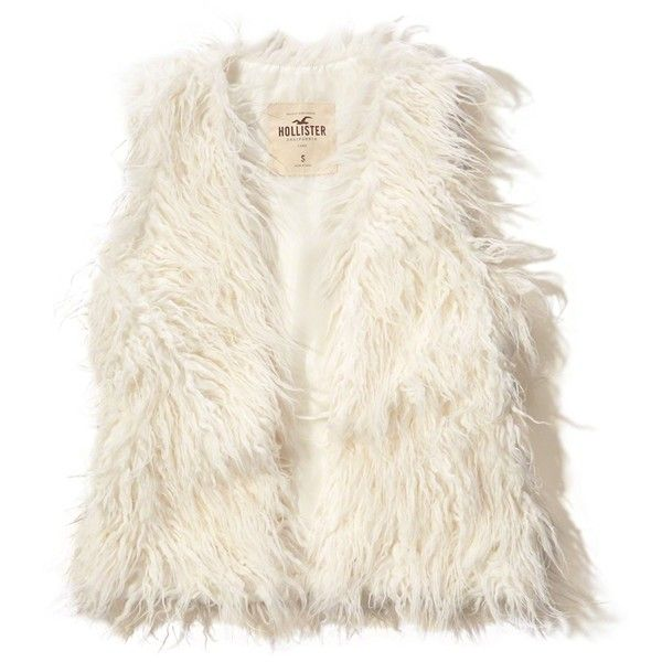 Hollister Faux Fur Vest (£24) ❤ liked on Polyvore featuring outerwear, vests, jackets, tops, coats, white, vest waistcoat, faux fur vest, white faux fur vest and fake fur vest