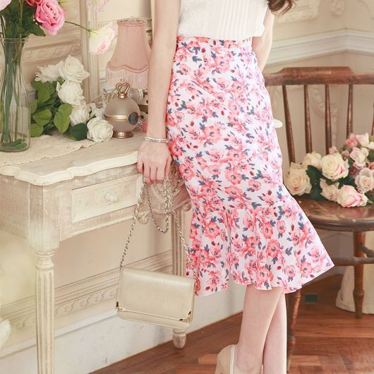 Printed Chiffon Fishtail Knee Skirt - Strawberrycoco
