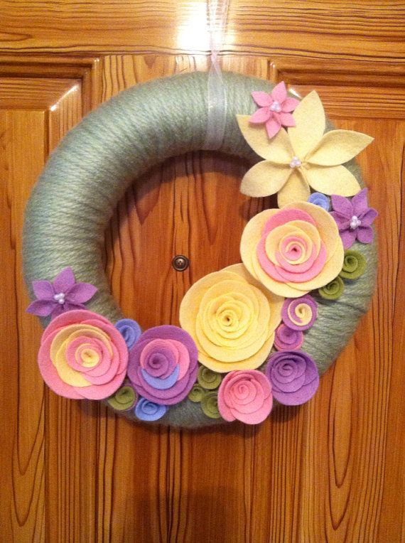 9 yarn wreath spring felt home decor by SweetCello on Etsy, $30.00