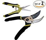 Bypass Pruning Shears Kit  Stainless Steel Gardening Hand Pruner and 1 Micro-Tip Snip Garden Clipper with Sharp Blades for Comfortable Trimming (Set of 2)