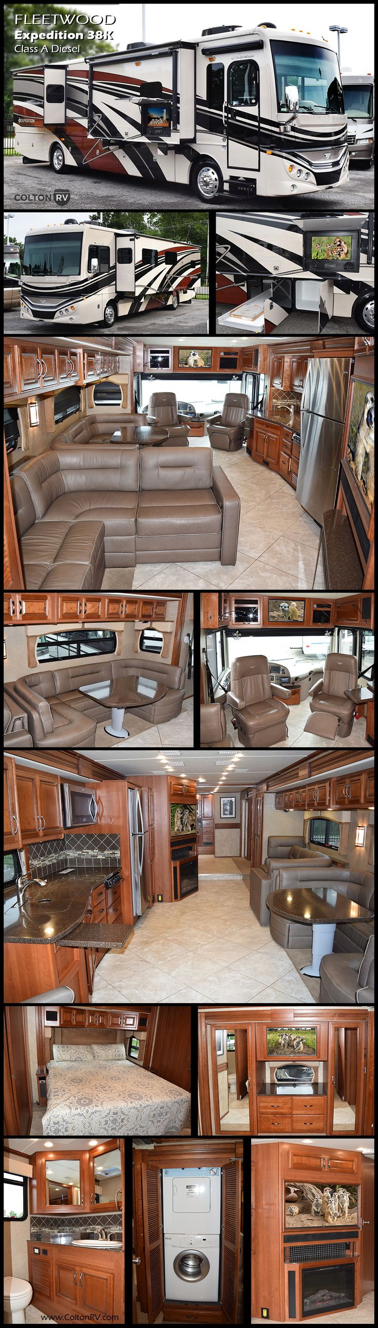 This spacious FLEETWOOD EXPEDITION 38K Class A Diesel Motorhome makes the adventure even grander. There's room to relax and generous storage space. This coach offers triples slides with one of the slides being a full wall slide. Let Expedition lead you down the road of relaxation with its thoughtful amenities, comfortable interior and all-around beauty