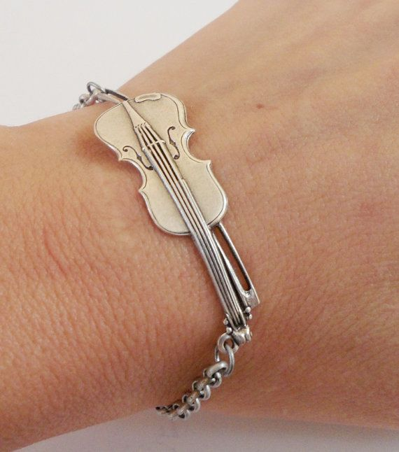 Violin Bracelet Antique Silver Ox by bellamantra on Etsy Love it!!!