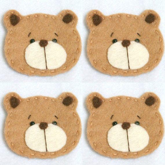 Set Of 4 Handmade Pet Felt Applique Cute Bear By BebeBoulevard 700