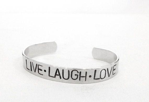 Hand Stamped Bracelet - inspirational quote bracelet - gift for her, live laugh love - friendship bracelet
