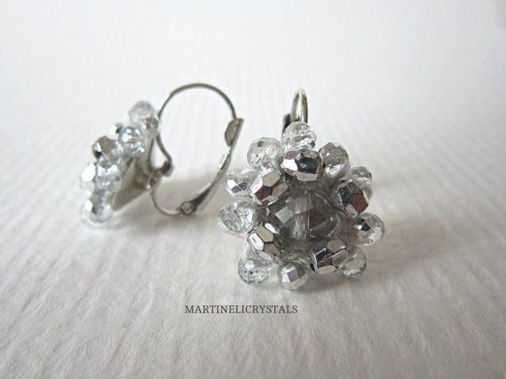 White Clear Crystal Earrings White Drop by MARTINELICRYSTALS