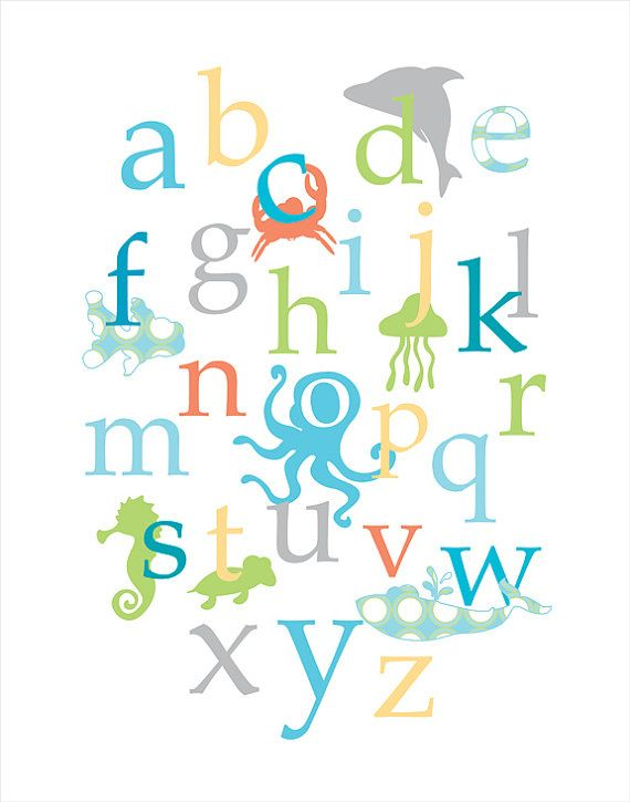 Ocean Theme Kids Room Beach Nursery Theme Decor Island Room Print Personalized baby shower gift kids wall prints girl boy alphabet prints