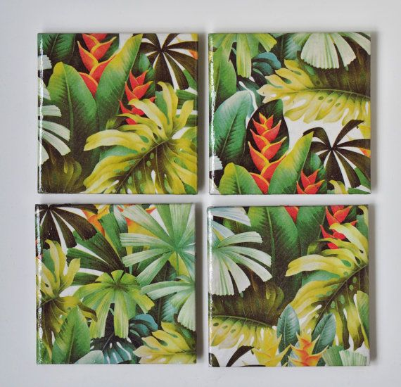 Tropical Coasters Green Jungle Spring Summer Emerald by Tilissimo