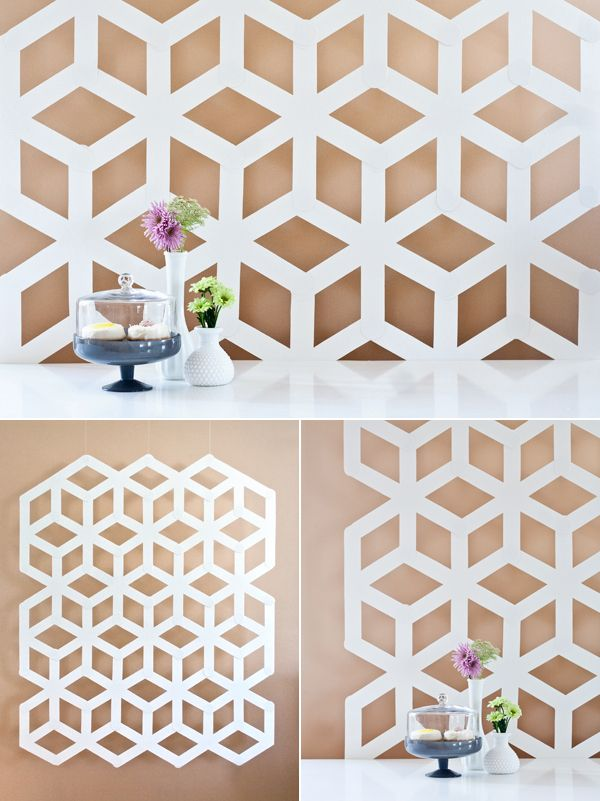 Modern Geometric Backdrop made from plain, white poster board!