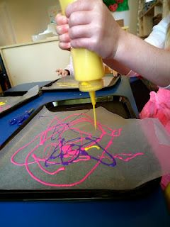 "idea comes from Sheryl at Teaching 2 and 3 Year Olds (original inspiration by Teach Preschool). To the untrained eye, this looks like ""just painting"". There is a lot going on here, though"