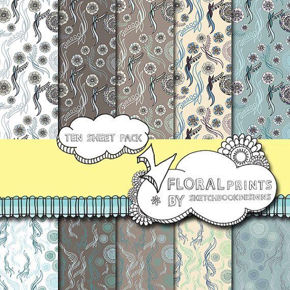 Digital papers  Floral Seamless Patterns  by SketchbookdesignsAu, $4.00