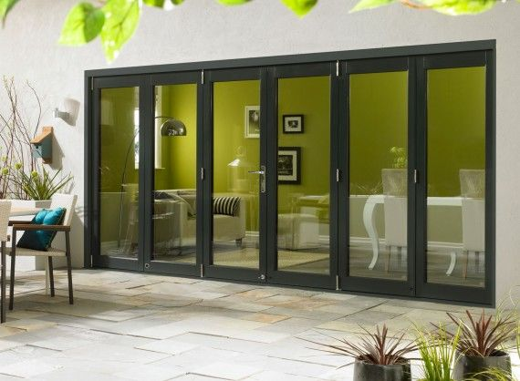 Ultra External Sliding Folding Doors, double glazed in Grey Aluminium and Oak. Available in 4.2M (14ft) and 4.8M (16ft).