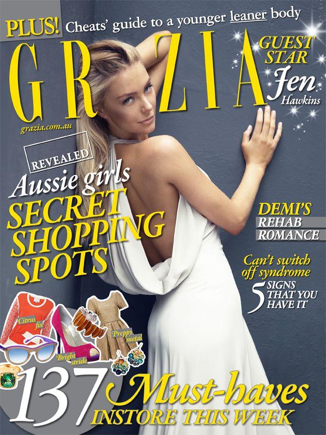 Grazia cover with Jennifer Hawkins.  Hair by Keiren Street