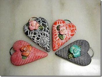 Como hacer corazones de pasta para modelar o fimo  #sanvalentin #diy #manualidades