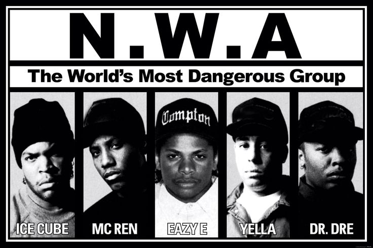 N.W.A. (Eazy-E, Dr. Dre, Ice Cube, MC Ren, and DJ Yella). Three of the members are top 50 all-time by themselves - Dr. Dre, Ice Cube, and Eazy-E, but as a group, they were one of a few rap groups that changed music history.