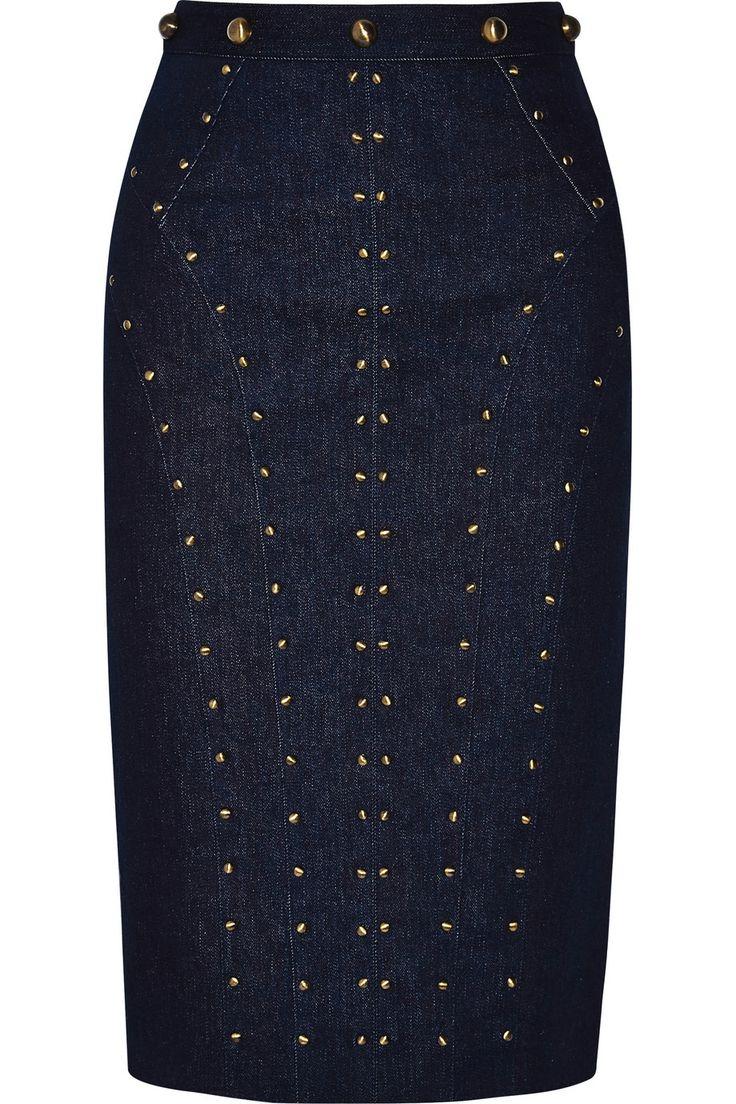 Tamara Mellon | Studded stretch-denim skirt | NET-A-PORTER.COM